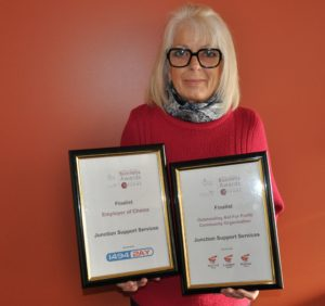 Our CEO Corienne Krich with our finalist certificates