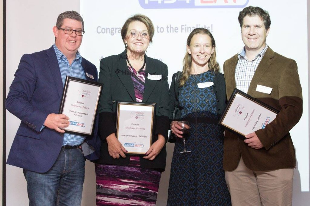 2AY 1494 General Manager Brendan O'Loughlin with finalists in the Employer of Choice category of the Albury Wodonga Business Awards