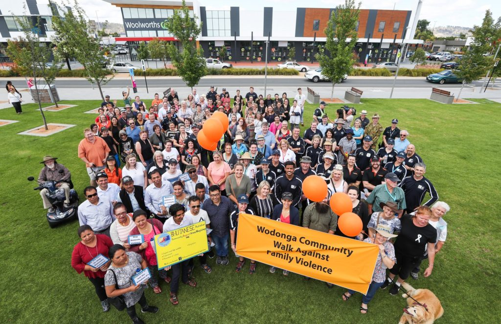 Participants in the Community Walk Against Family Violence