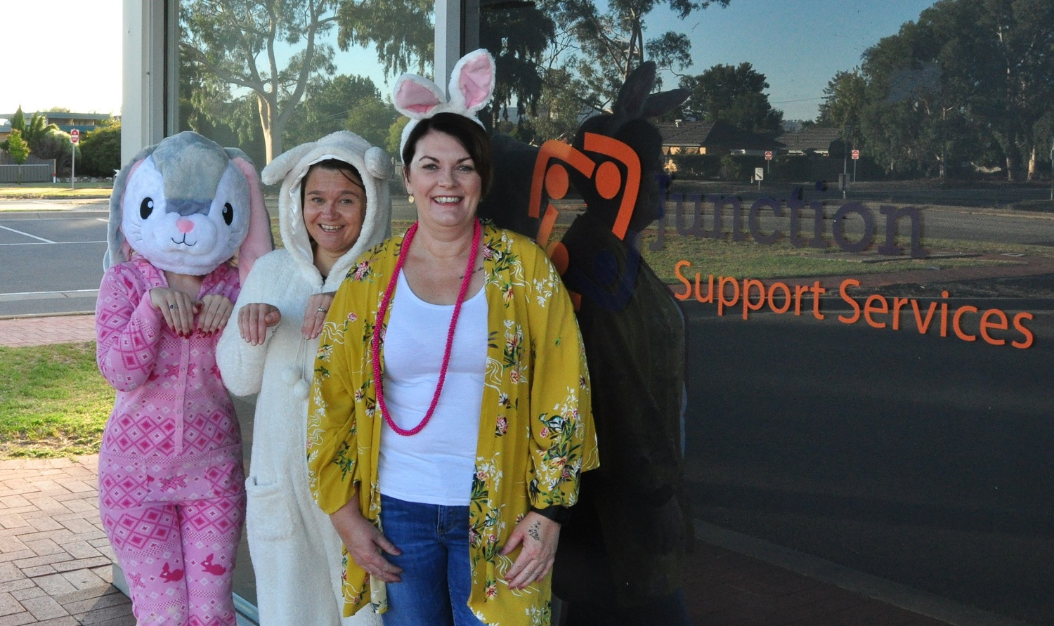 Staff dressed up for Easter