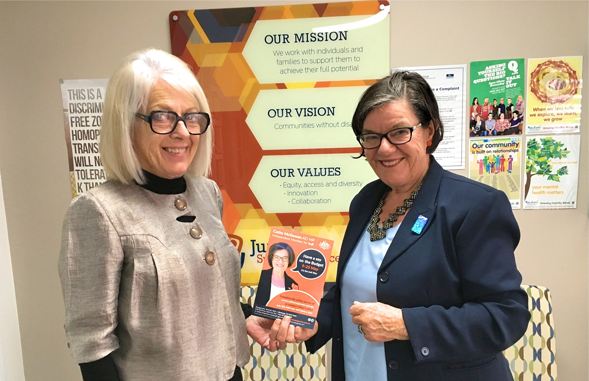 Junction Support Services CEO Corienne Krich and Member for Indi Cathy McGowan